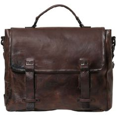 A.S.98 Vintage Effect Leather Briefcase ($492) ❤ liked on Polyvore featuring bags, briefcases and dark brown