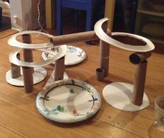 Marble Run made from paper plates & paper towel rolls