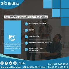 Software development is the epitome of complexity. However no matter how complex, #EitBiz helps it needs to be flexible, easy to maintain and enhance. Contact us at +1.317.766.9035 or can drop an email at info@eitbiz.com for software development. #softwaredevelopment #softwaredeveloper #softwarecompany Application Development, Design Development, Software Development, Mobile Web Design, App Design, Custom Website Design, Ecommerce Solutions, Good Communication, Digital Marketing Services