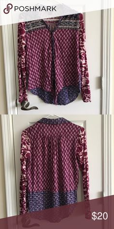 Lucky Brand Top Lucky brand size small. Tie front top. Long sleeve. Button down. Sleeves roll up and button on the sides of the sleeves. Lucky Brand Tops Button Down Shirts