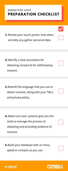 Marketer's - You need this #checklist to get you ready for #GDPR. Need some more guidance on GDPR? Check out our blog https://www.e-shot.net/Blog/Filter/Tag/gdpr