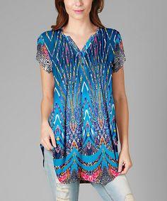 Look at this #zulilyfind! Blue V-Neck Cool Wave Tunic #zulilyfinds