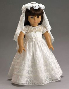 1ST Communion Dress + Veil made for 18  American Girl Doll Clothes