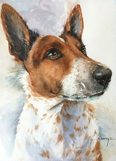 This is a painting of Rascal I painted in watercolor.