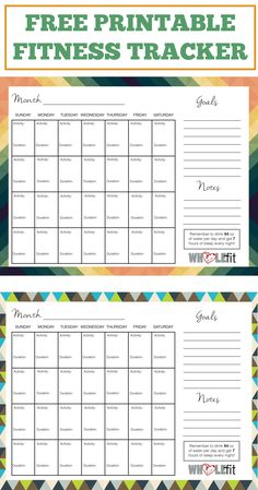 Dynamic image within free printable fitness planner