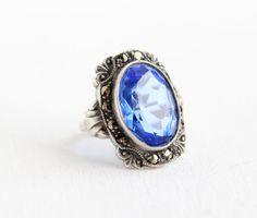 Vintage Art Deco Sterling Silver Blue Glass & by MaejeanVintage, $98.00
