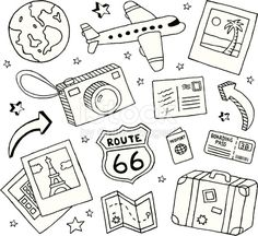 A collection of travel-themed doodles.