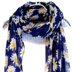 This beautiful White Daisy // Dark Blue Scarf will look great with any outfit, perfect for everyday wear or an elegant party or wedding.   S I Z E : 85 inches X 30 inches D E S C R I P T I O N : We use high quality viscose/polyester/chiffon to make our products.All items you see in my shop is ready made and carefully hand made with LOVE in our London family home. More about us : https://www.etsy.com/uk/people/Barbulaque?ref=hdr_user_menu  G I ...