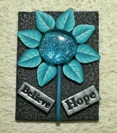 ACEO ATC Card Flower of Hope Believe Polymer Clay #zibbet