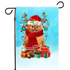 Pomeranian Christmas Garden Flag, Pom Christmas Garden flag, Pomeranian Christmas Gifts, Pomeranian Xmas Garden Flag