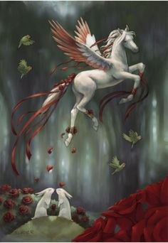 Forest Pegasus - from Bella Sera trading cards Pegasus, Magical Creatures, Beautiful Creatures, Fantasy World, Fantasy Art, Winged Horse, Fable, Unicorn Art, Mystique