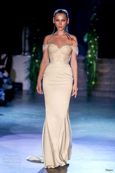 persy couture 2015 wedding dresses off the shoulder corset bodice with embroidery umembellished sheath skirt -- Persy Spring 2015 Couture Collection 2015 Wedding Dresses, Designer Wedding Dresses, Wedding Gowns, Bridesmaid Dresses, Wedding Attire, Bridal Corset, Bridal Gowns, Marchesa, Elie Saab