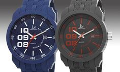 Joshua & Sons Men's Silicone Swiss Sport Watch. Multiple Colors Available.