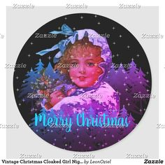 Shop Vintage Christmas Cloaked Girl Night Stars Purple Classic Round Sticker created by LeonOziel. Holiday Gifts, Holiday Cards, Christmas Cards, Girl Night, Stars At Night, Gift Wrapping Paper, White Elephant Gifts, Round Stickers, Vintage Shops