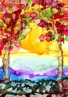 """Trees twice"" - Original Fine Art for Sale - © Kat Aaron-King"
