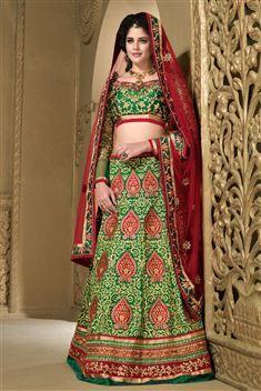 Green Silk Designer Resham Embroidered Lehenga Choli