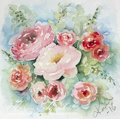 It's Sunday again and here's this week's watercolor: I'll share this with the Pink Challenge at Simon Says stamp Wednesday ...