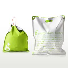 This rubbish bag by Ahhaproject of Milan and Seoul spells out how much energy the user can generate with each bag of kitchen waste collected. 1 bag = 12,000 h of music on your Mp3 player!