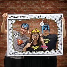 Superhero Photo Booth Props Includes Frame Batman Superman Wonder Woman #DCCOMICS #Parties