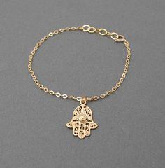 Gold Hamsa Hand Bracelet also available in от JENNYandJUDE на Etsy, $22.00