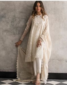 Beautiful white organza 3 piece stitched dress by Nida Azwer traditional embroidered dresses 2018 - Online Shopping in Pakistan Pakistani Dress Design, Pakistani Outfits, Pakistani White Dress, Pakistani Casual Wear, Indian Attire, Indian Ethnic Wear, Indian Wedding Outfits, Indian Outfits, Indian Reception Outfit