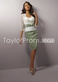 US $129.99 A-line Lace Knee-length Satin Mother of the Bride Dresses