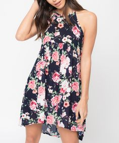 Loving this Caralase Navy Floral Swing Dress on #zulily! #zulilyfinds