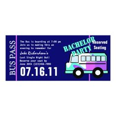 Bachelorette Party Bus Pass Card Party Bus Bachelorette Parties