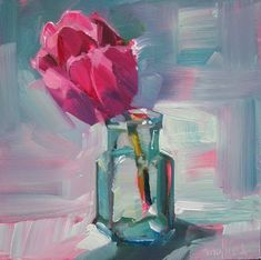 A Painting a Day by Patti Mollica: Pink Tulip in a Glass Bottle Flower Painting, Art Painting, Rose Painting, Flower Art Painting, Oil Painting Flowers, Tulip Painting, Floral Art, Painting, Oil Painting Abstract