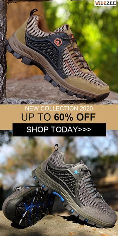 Men Mesh Breathable Toe Protecting Lace Up Sneakers Cleats, Athletic Shoes, Tourism, Mesh, Footwear, Lace Up, Sneakers, Clothes, Collection