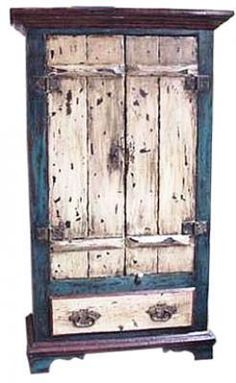 PP 0034 Blue Nautical 2-Door Cabinet with Bottom Drawer
