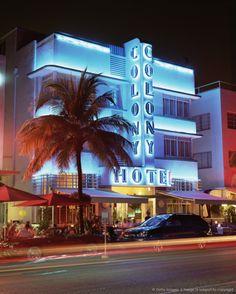 Art deco district at dusk, Ocean Drive, Miami Beach, Miami, Florida, United States of America, North America