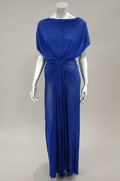 Madame Grès couture sapphire blue draped jersey `Goddess' gown, circa 1970