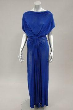 Madame Grès couture sapphire blue draped jersey `Goddess' gown, circa 1970