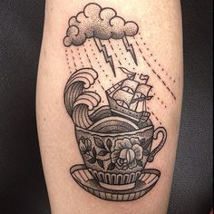 Susanne König #black #tattoo :D I love it! Dotting style! Storm in a teacup.. one of my new favorites <3