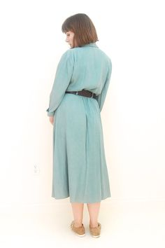 Vintage Fit Sea Foam Belted Shirt Dress Size S by Moonandmountain