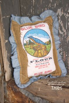 Vintage Flour Sack Farmhouse Pillow - Blue Bird Flour - Chambray and Burlap ~ throw, bed, accent Pillow ~ Farmhouse Country Chic Style Decor