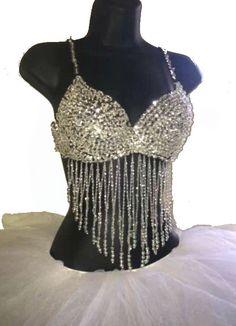 Women's Silver Sequin Tassel Bead Bra Top by RaveWonderlandStore