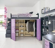 now this i would love #purple #organized #bedroom #bed #closet #drawers