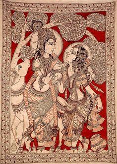 Krishna and Radha Gaze into Each Others Eyes, Folk Art Kalamkari Painting on CottonArtist K Murali Kalamkari Painting, Krishna Painting, Madhubani Painting, Krishna Art, Kalamkari Fabric, Silk Fabric, Indian Traditional Paintings, Indian Art Paintings, Indiana