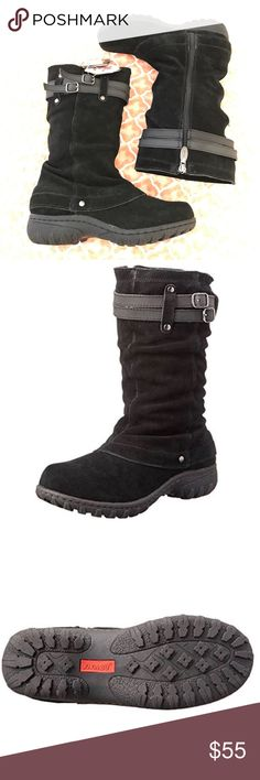 All weather black suede lightweight boots.  NWT Zip-up side closure for easy on and off. Decorative buckles at shaft. Faux fur lining for all-day comfort. Thermolite anti-fungal protection provides a cushioned, shock-absorbing, and odor-free foot environment. Tpr outsole provides treaded grip. Temperature rated: -20f/-29c. Team's olympic winter boots, lace up all-terrain boots, short waterproof boots, winter and cold weather faux fur lined boots and tall waterproof faux fur lined boots…