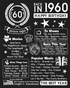 Back In 1960 1960 Birthday Poster Birthday Gift 60th Birthday Decorations, 60th Birthday Gifts, Birthday Greetings, Birthday Wishes, Happy 55th Birthday, Birthday Crafts, Birthday Ideas, Birthday Board, Man Birthday