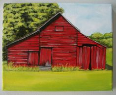8x10 stretched canvas hand painted with acrylics. Red barn painting. Canvas comes ready to hang with sides painted black.