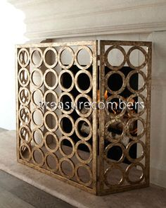 Golden Circles Fireplace Screen, 3 Panel Contemporary Gold Iron Horchow LOVE THIS, but maybe nickel finish?