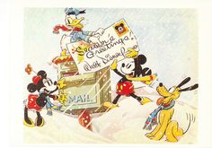 """Antique Disney Christmas Postcard with """"Donald Duck"""" , Pluto,Mickey and Minnie Mouse. Retro Disney, Disney Love, Disney Magic, Walt Disney, Funny Disney, Disney Stuff, Disney Mickey, Company Christmas Cards, Vintage Christmas Cards"""