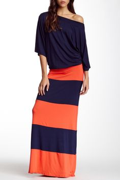 043989b010 Off Shoulder Striped Maxi Dress by Go Couture on  nordstrom rack Mom  Outfits