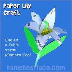Paper Lily Bible Craft for Sunday School - Beatitudes lesson and/or Easter Craft from www.daniellesplace.com