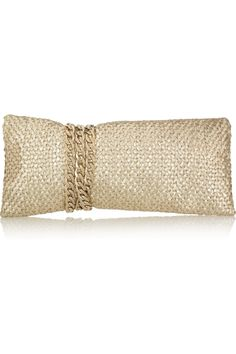 Jimmy Choo Chandra chain-embellished woven leather clutch