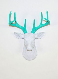 Faux Taxidermied - The MINI Oleg - White W/ Turquoise Antlers Resin Deer Head- Stag Resin White Faux Taxidermy