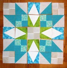 """Handmade quilt block by Verpa En Provence Mystery - Part 5 - Her """"guess"""" set up is AMAZING. Uses clues up to #5."""